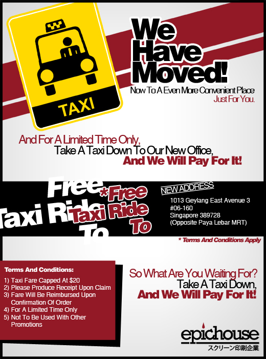 Free Taxi Ride when you print with us, only at Epichouse T-Shirt Printing!